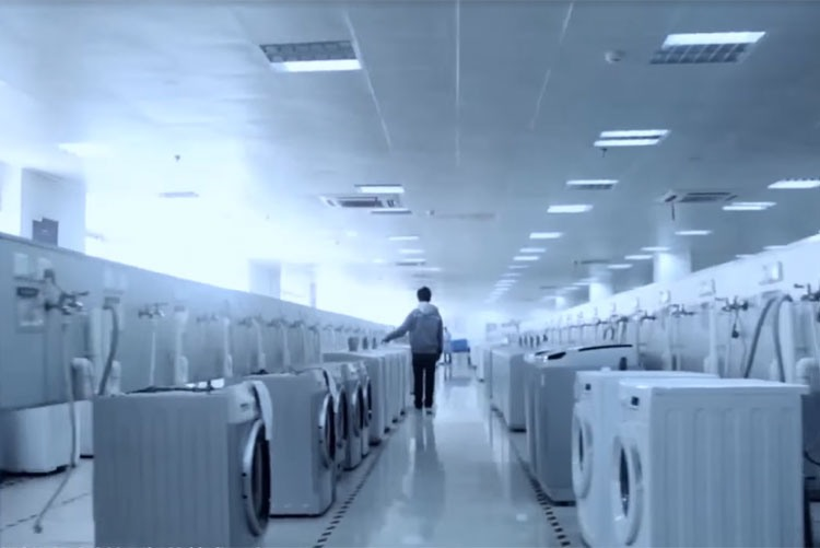 Отдел тестирования стиральных машин на заводе Little Swan